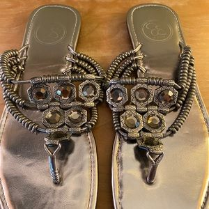 Jessica Simpson jeweled silver pewter sandals flat